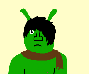 Emo Shrek with brown scarf