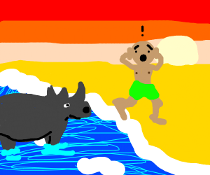 rhino in the water scares man at beach
