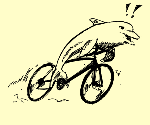 Dolphins on a bike with hands