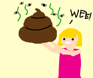 girl playing with huge brown poop thing
