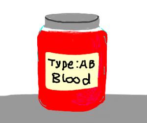 Jar of AB- blood