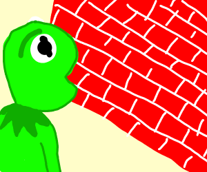 Kermit the frog staring disdainfully at wall