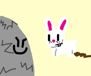 creepy cave stalks rabbit takin a dump