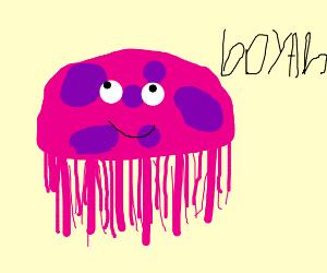 A jellyfish saying booyah