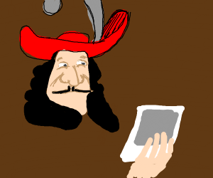captain hook on a boat looking at a picture