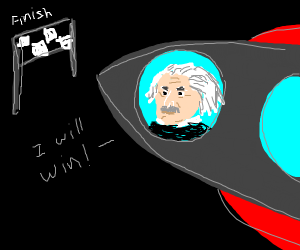 Albert Einstein in a rocketship race.