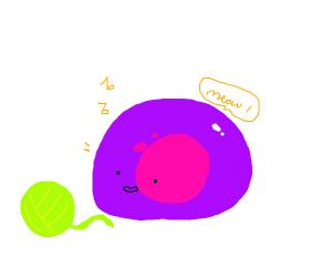 Purple slime thinks it is a cat.