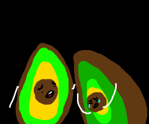 Avocado comforts other crying avocado