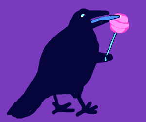Crow enjoying a lollipop
