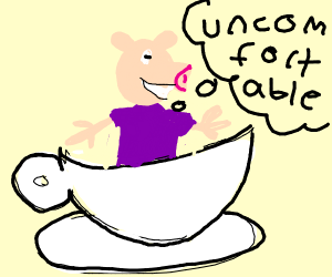 peppa pig in a very uncomfortable teacup