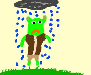 sad shrek under a rain cloud