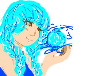 anime girl sumons blue orbs