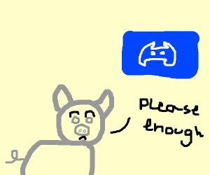 grey pig wants no more discord