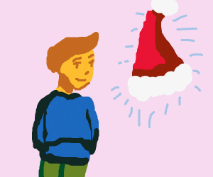 Kid with a magical santa hat that floats