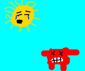 crying sun over... meatboy?