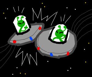 Alien car crash in space