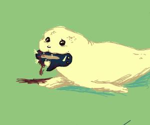 Seal eats baby penguin.