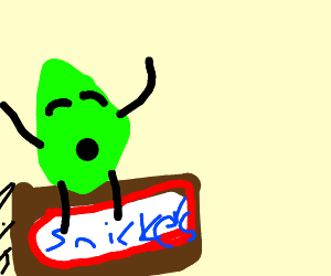 Leaf rides a flying snickers