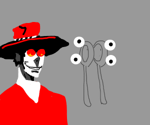 Alucard is pissed at spoons with eyes.