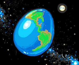Egg-shaped Earth, colonised moon