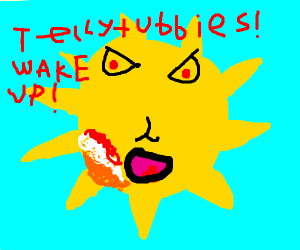 teletubby sun but angry