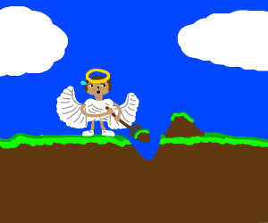 An angel holding a shovel trying really hard