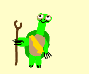 Wise old turtle with a beard and walking stic