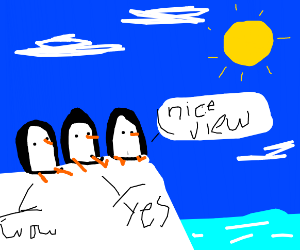 3 penguins enjoying the view