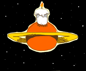 A Giant Candle on top of an Orange Saturn