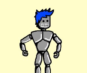 a robot man with blue hair