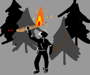 using a baguette as a torch, walking in woods