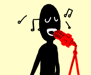 Guy with red microphone