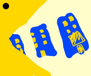 Pacman eating blue buildings