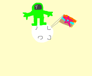 green astronaught landed on the moon