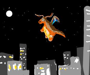Dragonite flies over city at night