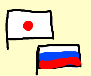 Japanese Flag and Russian Flag
