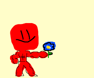 a red guy holding a blue flower