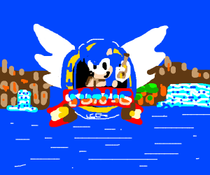 cool sonic holding beer