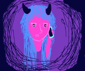 Blue haired demon girl on phone