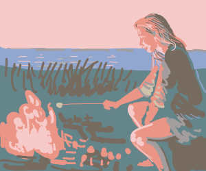 girl with pink hair with campfire