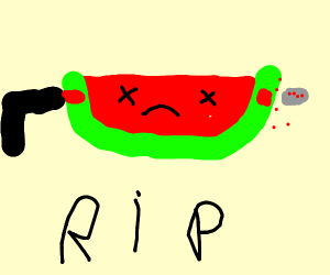 a water melon dying