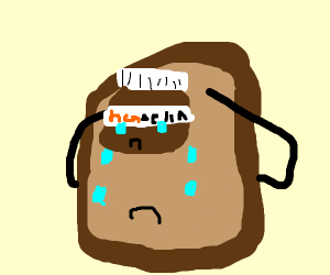 Crying piece of toast holds up crying Nutella
