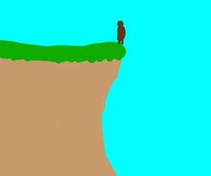 Cockroach standing on a cliff sadly