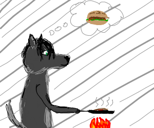 Wolf making delcious burgers