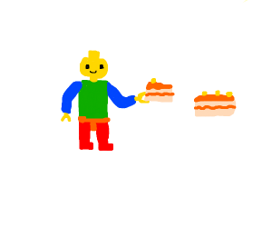Lego man takes some orange cake