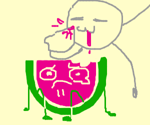 watermelon cries cuz someone bite him