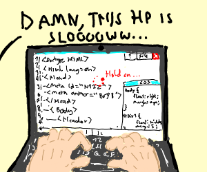 Guy writing code on a bad laptop