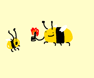 Bee man with thumb on fire scares normal bee
