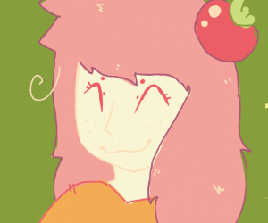 girl with a tomato on her head