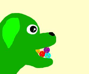 Green dog eats colorful balls